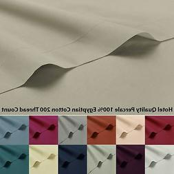 100% Egyptian Cotton Percale 200 Thread Fitted Sheet Flat Fr