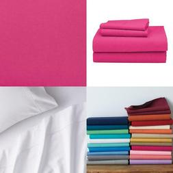 Classic 4-Piece Hot Pink Solid 210 Thread Count Cotton Perca
