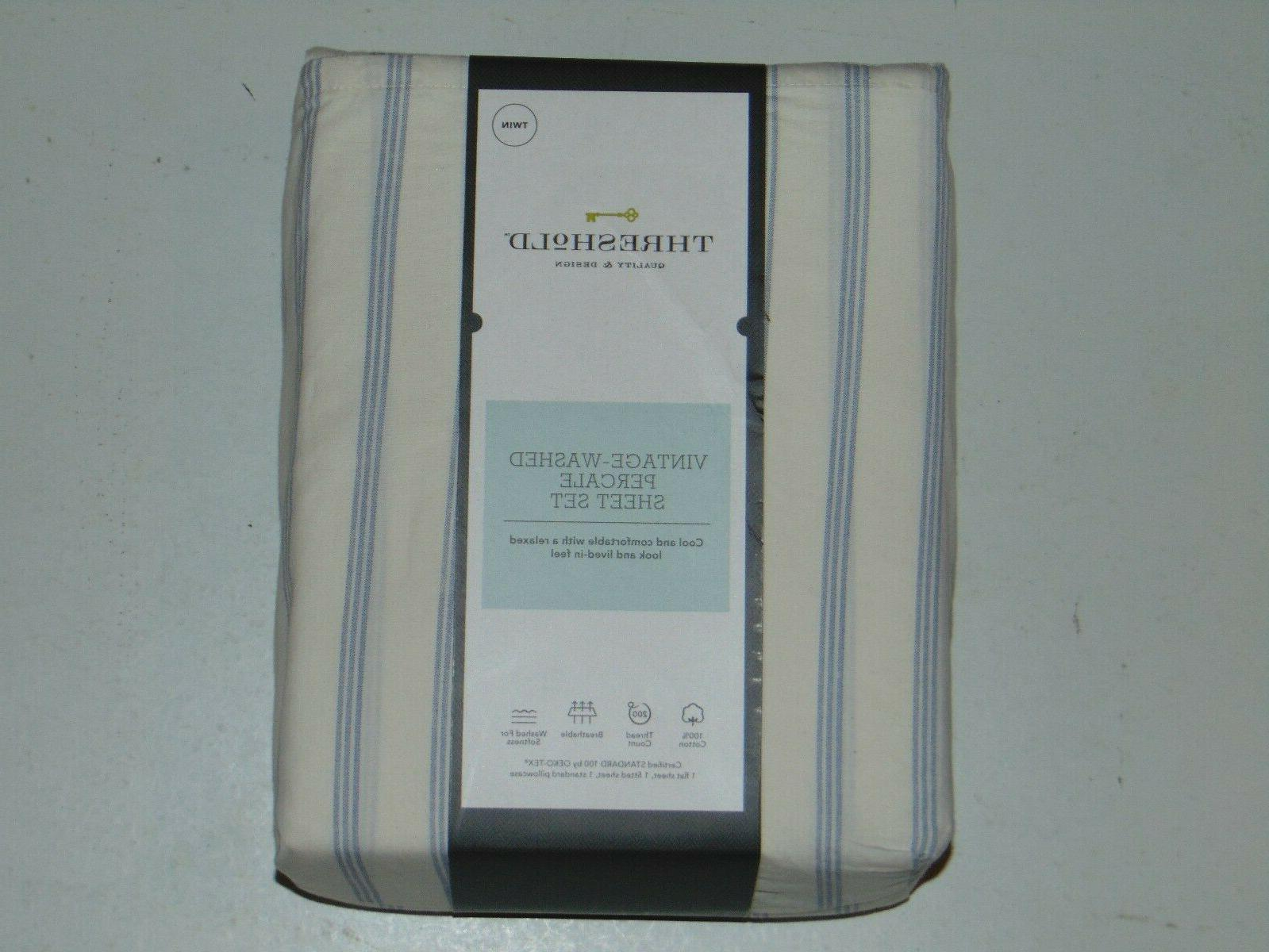 vintage washed percale sheet set twin blue