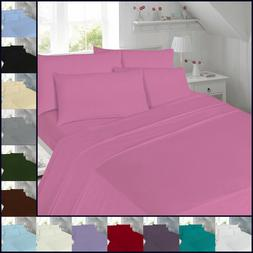 Percale Fitted Flat Sheet Bed Non Iron Single Double Super K