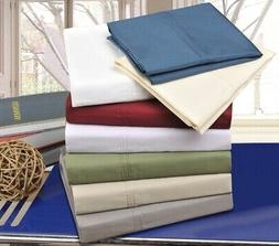 Solid 300-Thread Count Cotton Percale Deep Pocket Sheet Set