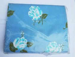 Vintage NEW in Package Percale Blue Floral Double Flat Sheet