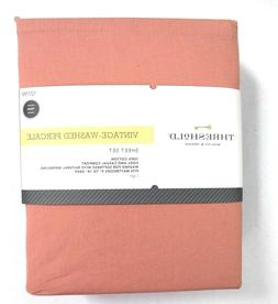 Threshold Vintage-Washed Percale Solid 3-Piece Twin Sheet Se