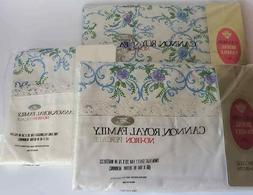 Vtg Cannon Royal Family Percale Fitted Flat Twin Sheet King